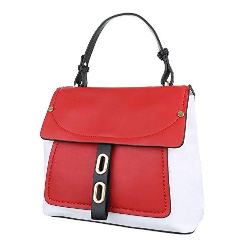 Ital-Design, Borsa a spalla donna bianco/rosso