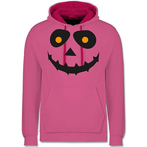 (Shirtracer Halloween - Gruseliges Gesicht Fasching - S - Rosa/Fuchsia - JH003 - Kontrast Hoodie)