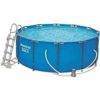 Bestway Steel Pro MAX Frame Pool Set, rund 366x122 cm Stahlrahmenpool-Set mit Filterpumpe + Zubehör, blau