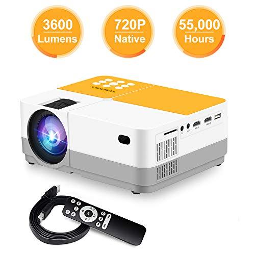 Proyector, TUREWELL H3 Proyector de video Resolución nativa HD 720P, 3600 lumen Mini Proyector LCD portátil 180 '55000 horas, para estuche y viaje, Compatible con TV Box / Home Theater