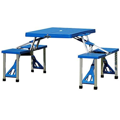 Deuba Alu Campingtisch Koffertisch Klappbar mit Stühlen I Tragegriff I Schirmhalterung I Sitzgarnitur Campingmöbel Set