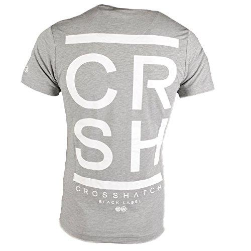 Crosshatch Herren T-Shirt Rundhals Kurzarm Meinhard-Tee Grau