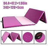 CCLIFE 240x120x5cm,Tappetino Pieghevole da Ginnastica, Tappetino per Allenamento Fitness e Yoga 3 Pieghe, Colore:Viola&Rosa