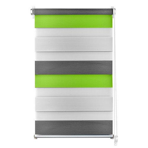 S SIENOC Doble persiana Enrollable Duorollo Estor Enrollable Doble Tejido Persiana para Las Ventanas de Oficina Estar Dormitorio (Verde + Blanco + Gris, 90x220 cm)