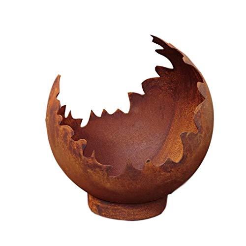 terracotta-toepfe-de Deko/Feuerkugel / Pflanzkugel aus Metall Edelrost Rost mit Standring Windlicht Garten Pflanzgefäß Blumentopf