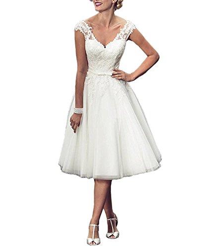 DreamyDesign Traumhaft A-Linie V-Ausschnitt Tüll Hochzeitskleid Brautkleid Standesamt Rückenfrei...
