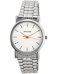 Sonata Analog White Dial Men's Watch -NJ7987SM03W