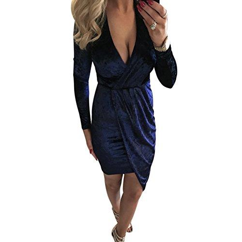 La Cabina Femme Sexy Mini Robe T-Shirt Col en V+ +Asymétrique Irrégulière Manches Longue pour Soirée Cocktail Vie Quotidienne Bleu