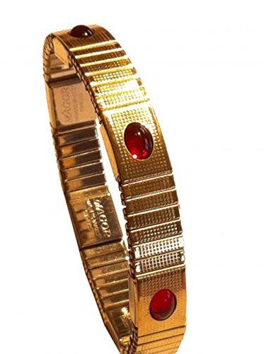 Magor Magnetarmband Magnet Armband mit 6 Magneten goldfarben mit 6 Schmucksteinen besetzt, Fb.:rot