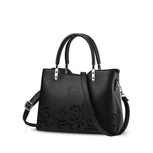 NICOLE&DORIS Elegant Stilvoll Damen Handtaschen Umhängetasche Tasche Crossbody Bag Henkeltaschen Schultertaschen PU Schwarz (Handtasche Italienische)