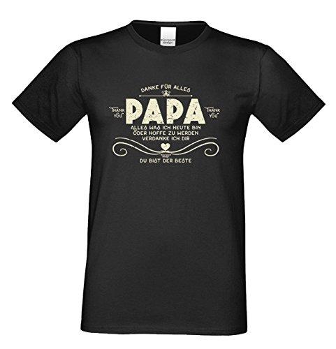 TOP Geschenk Shirt perfekt zum Vatertag, Geburtstag, Weihnachten, Ostern … mit Spruch - Danke Papa Farbe: schwarz Schwarz