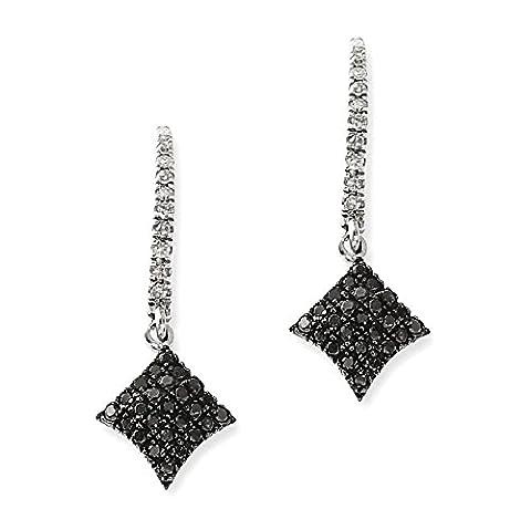 IceCarats 925 Sterling Silver Black White Diamond Post Stud Drop Dangle Chandelier Earrings