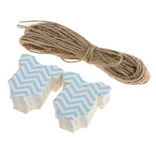 schenk Anhänger Papieranhänger Tags Labels zum Selbstgestalten Preisetiketten Preisschild Etikett DIY Dekor für Baby Taufe Baby Dusche Party - Blau (Labels Für Baby-dusche)