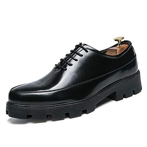 HILOTU Männer Casual Oxfords Klassische Spitze Gummi-Laufsohle Komfortable Höhe Lackleder Formelle Schuhe (Color : Schwarz, Größe : 42 EU)