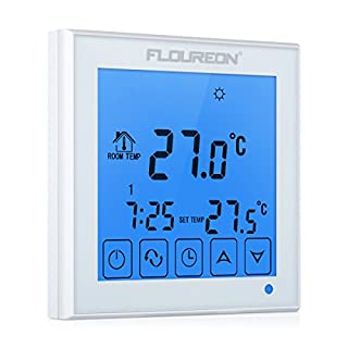 FLOUREON Underfloor Heating Thermostat Touchscreen Central Heating Thermostat with LCD Backlight Weekly Daily 5/5+1/5+2 Programmable Home Thermostat Temperature Controller AC200~240V