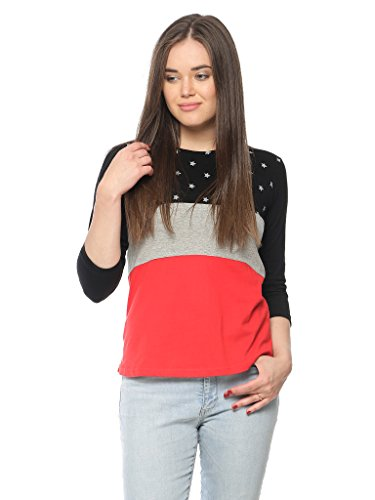 Vvoguish Women\'s Star Printed Top(VVPNTTP1135BLKGMRD_L_Multi-Coloured_Large)