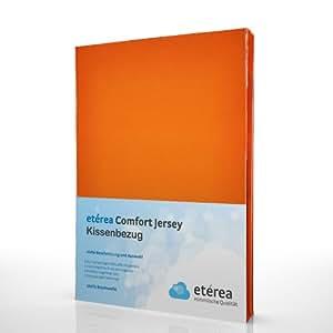 2 Teilig etérea Doppelpack Comfort Jersey Kissenbezug Orange, 80x80 cm