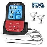Die besten Elektronische Grill Thermometer - TURATA Bratenthermometer, Fleischthermometer Kabellos BBQ Bratenthermometer Digital Grillthermometer Bewertungen
