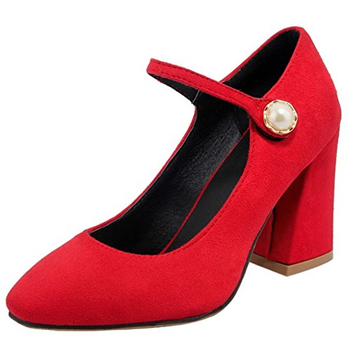 0ebe5854a1f639 COOLCEPT Damen Klassische Hohe Ferse Blockabsatz Pumps Knochelriemchen  Schuhe Rot