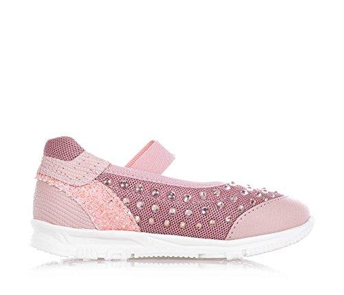 FLORENS - Ballerina rosa in pelle e tessuto, con fascia elasticizzata, strass decorativi, cuciture a vista e suola in gomma, Bambina, Ragazza-28