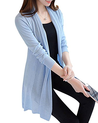 Damen lange Abschnitte Klimatisierte-shirt Strickjacke Schal dünn Mantel Himmelblau L