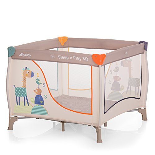 Hauck Sleep N Play SQ, leichtes quadratisches Baby-Laufgitter, Laufstall, Reisebett inklusive Matratze und Tasche, Liegefläche 90 x 90 cm, faltbar und tragbar, beige (Animals)