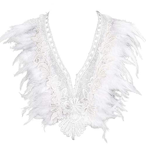 CS-YP- Feather White Lace Body Harness Engel Verstellbarer elastischer Käfig BH Tops Club Dance Rave Wear von Frauen Party Kleidung