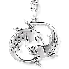Idea Regalo - STERLL Uomo Portachiavi segno zodiacale Pesci Argento 925 ossidato Sacchetto per gioielli, piccoli Regali per Uomini
