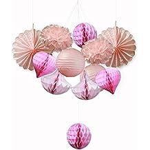 SUNBEAUTY Serie de rosa Pom Pom flor de papel & Abanico& Bola alveolar& Farol decoración colgando para boda cumpleaños Santa semana fiesta Baby shower