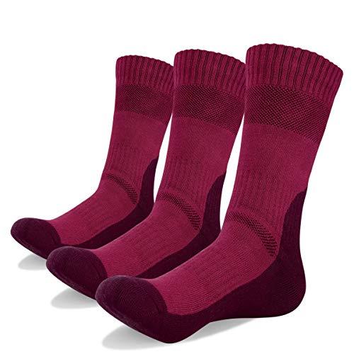 YUEDGE 3 Paar Socken für Männer Atmungsaktiv Trekking Wandersocken Herren Winter Thermal Warme Socken, Dunkelrot, Herren Schuh 38,5-44,5 EU Größe