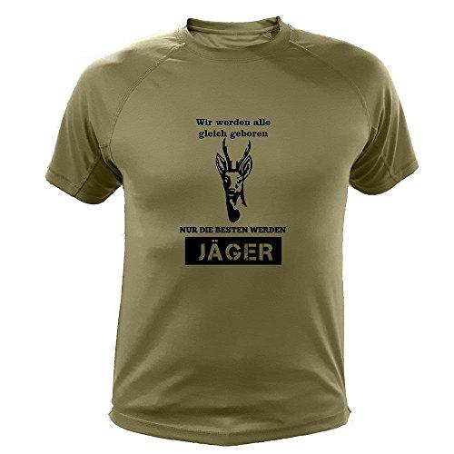 Jagd T shirt Rehe, Wir werden alle gleich geboren nur die besten werden Jäger, Lustiges Geschenk für Jäger (20137, Grun, M)
