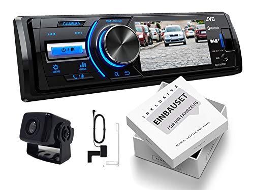 JVC KD-X561DBT 1-DIN DAB Media Receiver Farbdisplay inkl Rückfahrkamera und DAB Antenne für Jeep Cherokee/Liberty (KJ) 2001-2008 schwarz