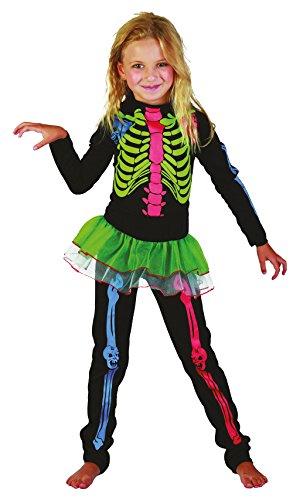 Skeleton Mädchen - mehrfarbig Bones - Kinder Kostüm - Medium - 122cm bis 134cm