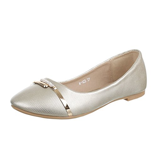 Damen Schuhe, A-123, Ballerinas, Pumps mit Strass DEKO, Synthetik in Hochwertiger Lederoptik, Gold, Gr 37