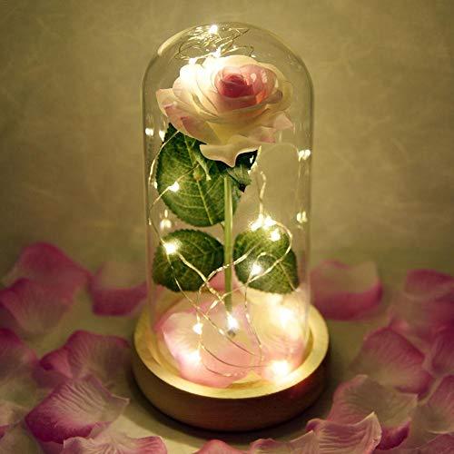 Lucky-all star Muttertagsgeschenk Ewige Blumenrose - Simulierte Rosa Rose mit Glaskolben-Domdeckel und LED-Licht, Dekoration für Muttertags-Valentinstag-Hochzeitsfest (ohne Batterie)