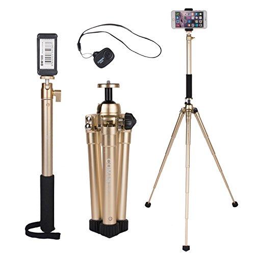Portatile Kit Treppiede per Asta Incluso E300L Extension Selfie Stick e MT50 Mini Treppiede, Con Supporti per Telefono e Telecomando Bluetooth per Smartphone, DSLR e Fotocamera Mirrorless (Oro)