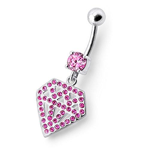Bijou nombril pendant en argent sterling 925 Forme Diamant multi pierres Avec Banane 14Gx3/8(1.6x10MM) en acier chirurgical 316L et Boule 5MM. Pink