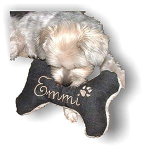 LunaChild Handmade Hunde Spielzeug Kissen Knochen Hundeknochen mit oder ohne Quitescher/Rassel schwarz XXS XS S M L XL XXL Name Wunschname Hundekissen bestickt personalisiert Geschenk
