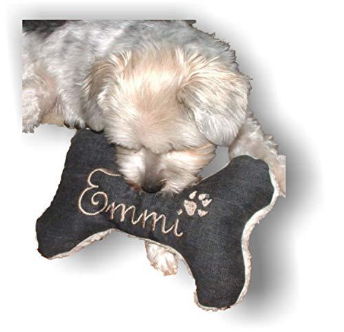 Hunde Spielzeug Kissen Knochen Hundeknochen mit oder ohne Quitescher/Rassel schwarz XXS XS S M L XL XXL Name Wunschname Hundekissen bestickt personalisiert persönliches Geschenk Unikat -