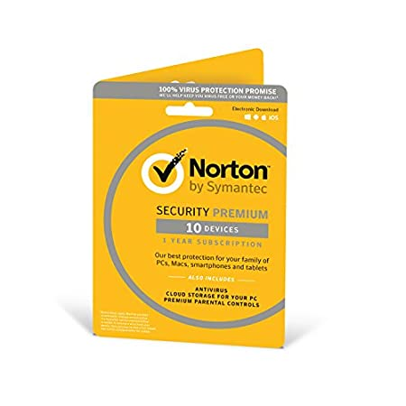 Norton Security Premium 2018 / 10 devices / 1 year/Antivirus included/PC/Mac/iOS/Android /Download
