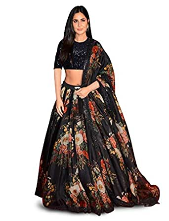 Zeel Clothing Women's Floral Printed Organza Semi Stitched Lehenga Choli with Dupatta