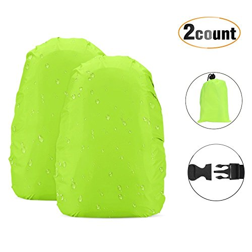 AGPTEK 2 * Waterproof Covers for Backpack with Storage Bag and Adjustable Buckles, for Camping, Hiking etc, Green, S (18-25L)