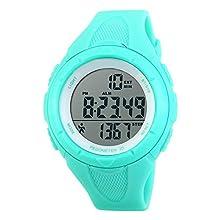 TOPCABIN Mädchen Uhren Damen Jungen Kinder Digital Armbanduhr mit Wecker/Timer/LED-Licht,Wasserdichte Elektronische Multifunktions-Step Counter Sports Uhren für Damen Hellblau