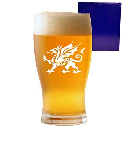 1Pint Tulip Bier Glas mit Design Walisischer Drache Geschenkbox