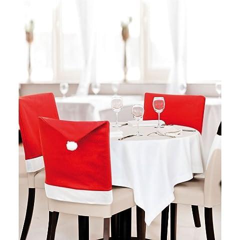 eBuyGB Pack von 6 Santa Hut Essen Stuhlhussen - Xmas Party Dinner Weihnachtsdekoration