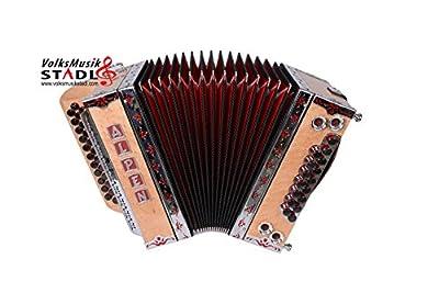 """Steirische Harmonika Alpen Modell Compact """"Vogelaugenahorn"""" G C F B"""
