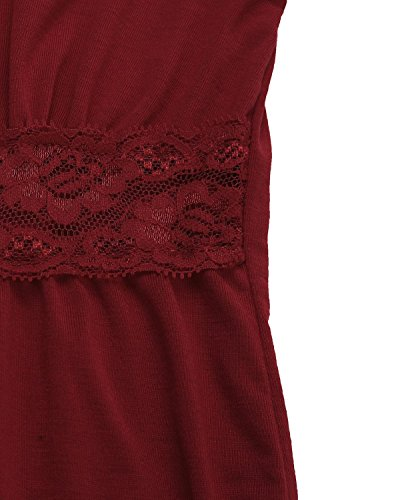 StyleDome Femme Shirt Col Rond Manches Longues Slim Elégante Haut Tops Blouse Chemise Pull Bordeaux 504578