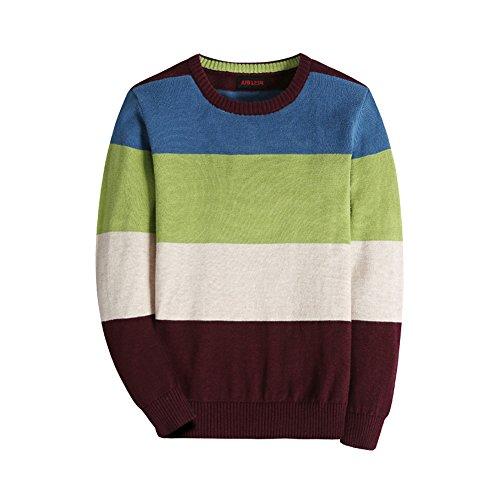 Basadina Fall Season Boys Thin Round Neck Cotton Stripe Knitted Jumpers Sweaters, Green, 100
