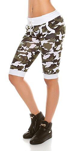 Trendy KouCla Capri im Army-Look | Sehr Elastisch | Einheitsgröße Weiß