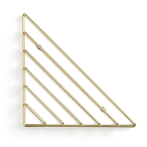 Umbra Strum Wand Zeitschriftenhalter im Geometrischen Design – Modernes Wandboard für Bücher, Magazine, Zeitungen und Mehr – Anbringung in 3 unterschiedlichen Ausrichtungen Möglich, Metall/Messing